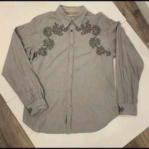 Guess Vintage Pearl Snap Button Gray Mens Shirt XL